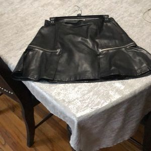 Michael Kors  Black Leather Mini Skirt